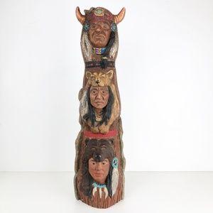 "Other - Vintage Ceramic Cast Totem Pole 22"" Tall Native"